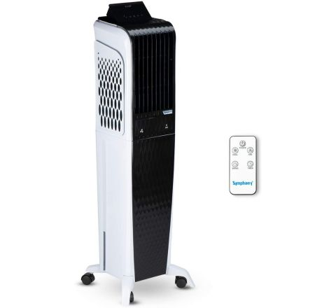 Symphony Diet 3D 55i+ Tower Air Cooler 55-litres with Magnetic Remote, 3-Side Cooling Pads, Auto Pop-up Touchscreen, Multistage Air Purification, & Low Power Consumption (Black & White)