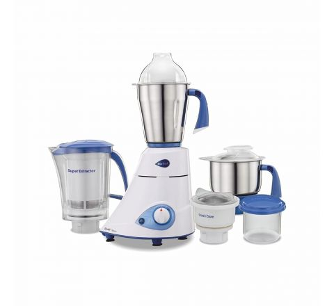 Preethi Blue Leaf Platinum MG 139 Mixer Grinder, 750W, 4 Jars (White and Blue)
