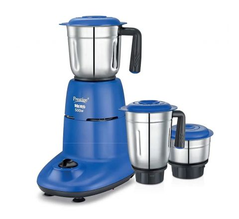 Prestige Appliances Latest Hero 500W Elegant Designer 3 Jar Stainless Steel Mixer Grinder (Blue)