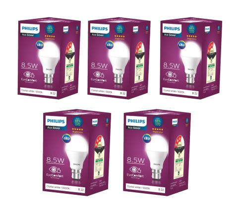 Philips 8.5-Watt Standard B22 LED Bulb (Pack of 5, Cool Day White)