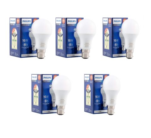 Philips Stellar Bright 16 Watt B22 LED bulb(Cool day light, Pack of 5)